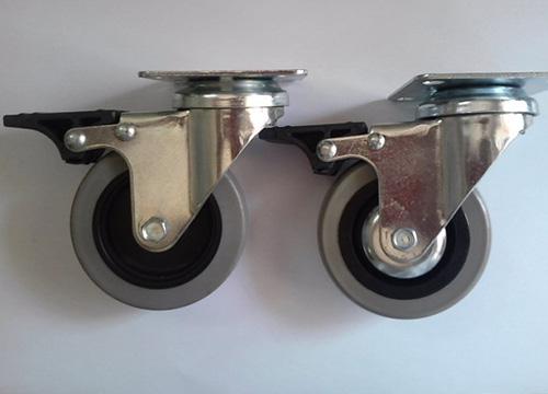 3寸PU平底刹车脚轮