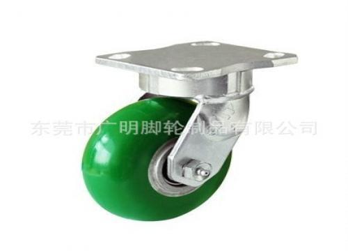 绿色圆顶PU包铝芯脚轮